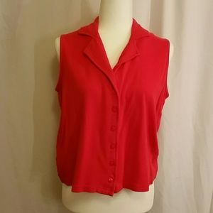 Sleeveless red top